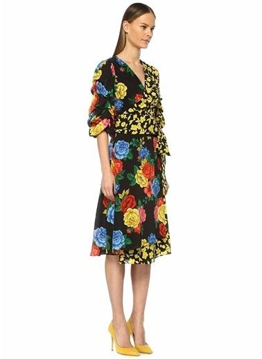 Alice+Olivia Çiçekli Midi Anvelop İpek Etek Renkli